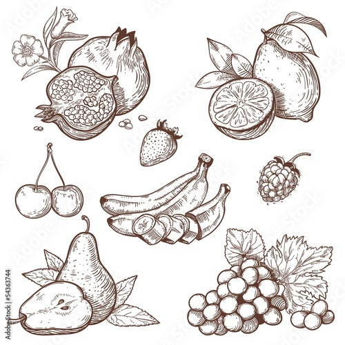 Icons of sweet fruits and berries