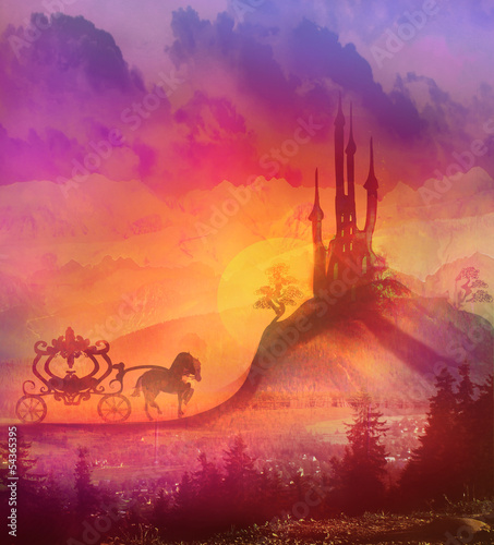 Naklejka Karetka na zachodzie słońca. Sylwetka przewozu koni i mediev