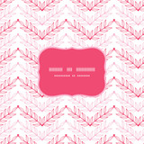 Vector Pink lineart leaves chevron frame seamless pattern
