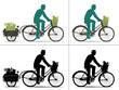 Silhouette d'homme qui fait ses courses à vélo - 54366188