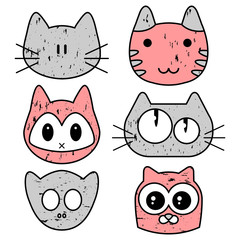 Set of cute kitty faces