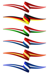 Collection of Europe flags vector illustration