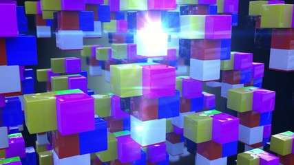 abstract colorful cubes, HD 1920 X 1080, 30 fps