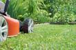 canvas print picture - Rasenmäher auf dem Rasen