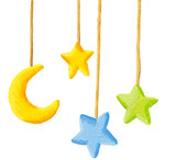 Baby crib hanging mobile toy - Moon and stars