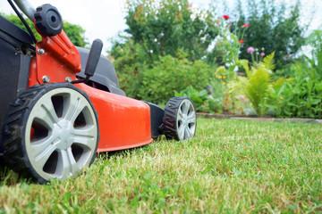 Rasenmäher im Garten
