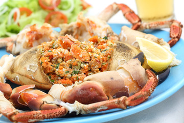 boiled crab on a table - seafood dish