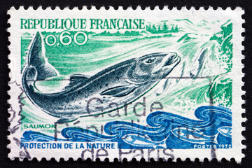 Postage stamp France 1972 Salmon, Salmo Salar, Fish