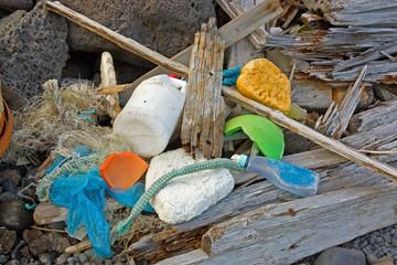 Marine garbage washed ashore