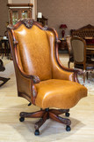 Classic leather armchair in a furniture store
