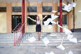 Woman graduates school and discards all her paperwork poster