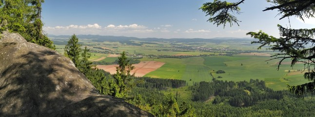 view from Broumovské steny mountains in Czech republic
