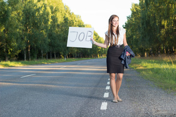 Woman hitchhikes for job
