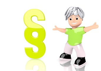 3d graphic of a happy law sign  with cute 3d character