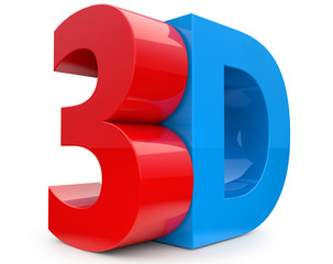 3D text in red and blue