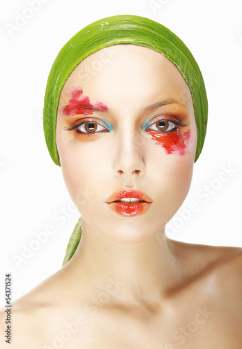 Eccentricity. Styled Woman's Face. Theatrical Makeup