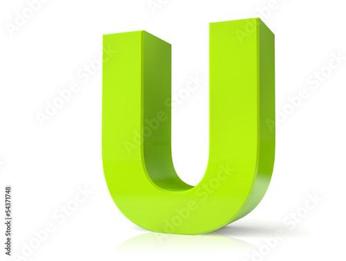 3d green letter - U