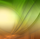 Abstract fractal background in green yellow orange  colors