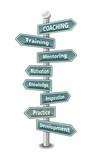 COACHING - word cloud - US american signpost