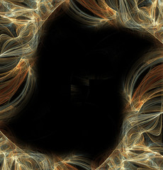 Abstract fractal frame  on black background