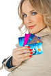 attractive woman with credit cards