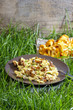 Traditional scrambled eggs with fresh chanterelle