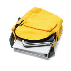 Laptop And File In Backpack