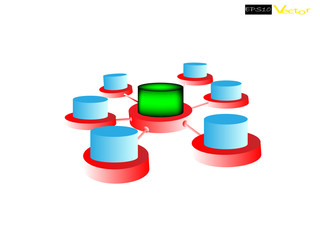 Data warehouse and Data integration on white background