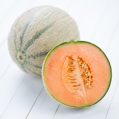 Still life food: cantaloupe melon