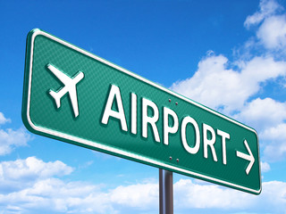 Airport direction road sign