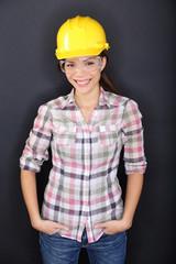 Construction worker happy woman portrait