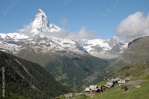 Village of Eggen beneath the Matterhorn in the Swiss Alps