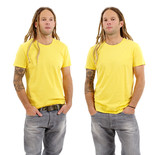 Male with blank yellow shirt and dreadlocks