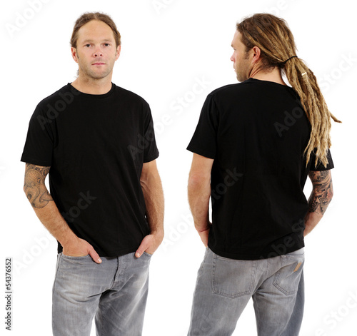 Male with blank black shirt and dreadlocks