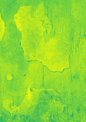 Grunge green and yellow painted wall