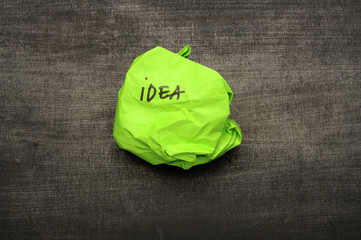 Idea writing on crumpled paper