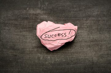 Success writing on crumpled paper