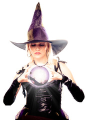 Witch looking in the magic ball