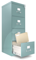 File Cabinet.Classic file cabinet with lock. One open drawer.