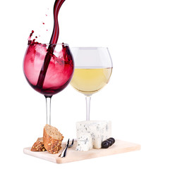white and red wine  with cheese