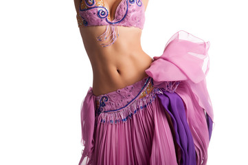 Bellydancer with Pink Costume Shaking Her Hips