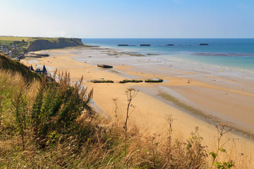 Normandy Landings, remains of artificial port at Arromanches-les