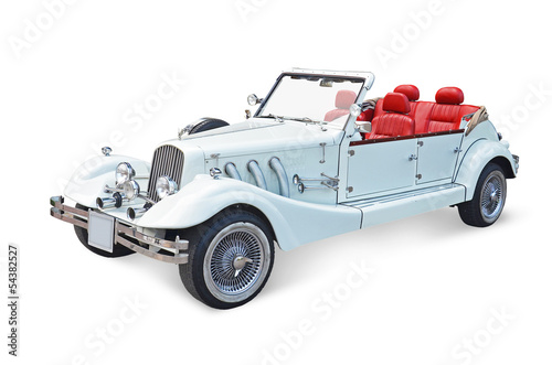Retro cabrio car, vintage classics - white background