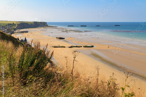 Poster Normandy Landings, remains of artificial port at Arromanches-les