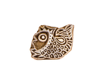 Indian wood carving printing block stamp for textile design