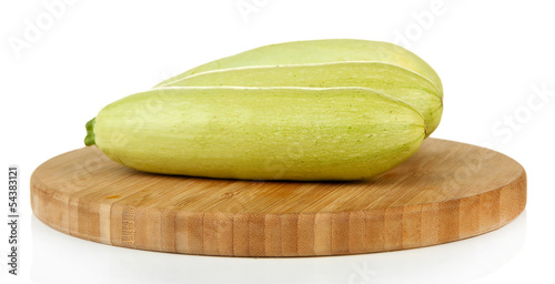 Fresh marrows on cutting board, isolated on white
