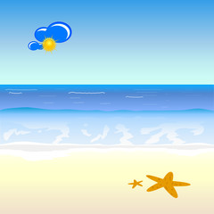 beach cartoon art vector illustration