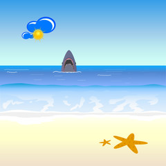 shark and beach vector illustration