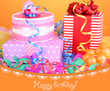 Colorful gift boxes on orange background