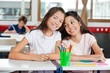 Schoolgirl Sitting With Female Friend At Desk In Classroom
